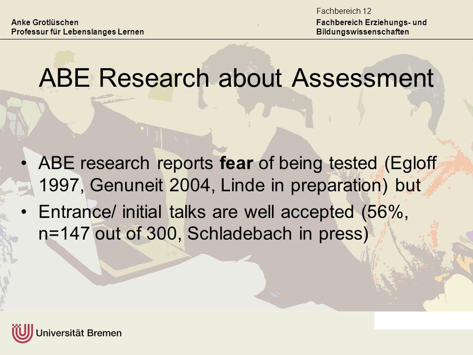 Anke Grotlüschen Professur für Lebenslanges Lernen Fachbereich Erziehungs- und Bildungswissenschaften Fachbereich 12 ABE Research about Assessment ABE
