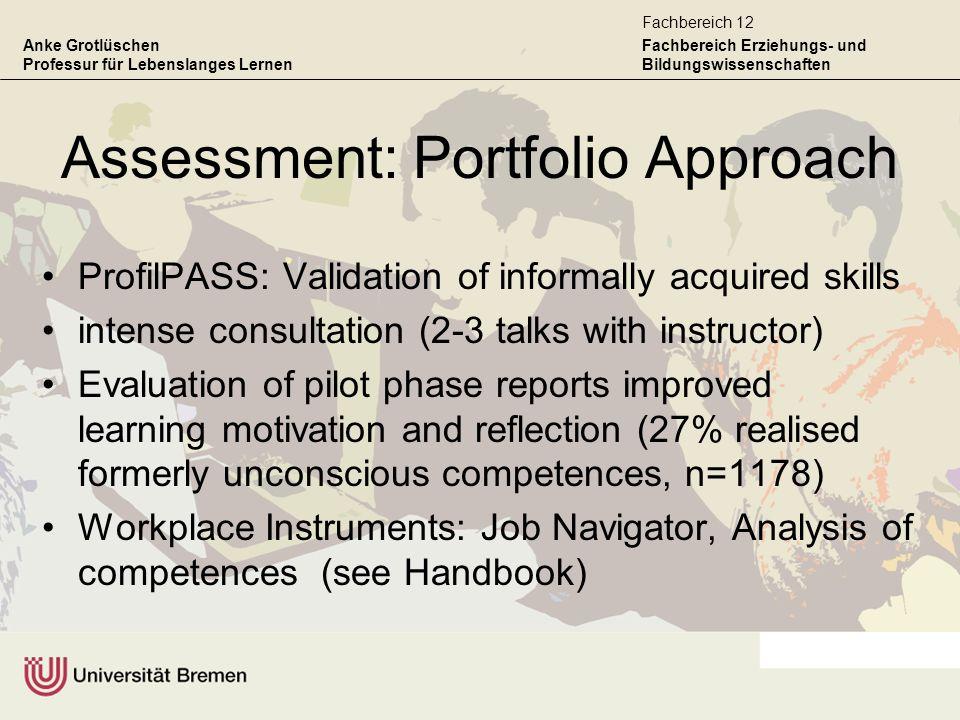 Anke Grotlüschen Professur für Lebenslanges Lernen Fachbereich Erziehungs- und Bildungswissenschaften Fachbereich 12 Assessment: Portfolio Approach Pr