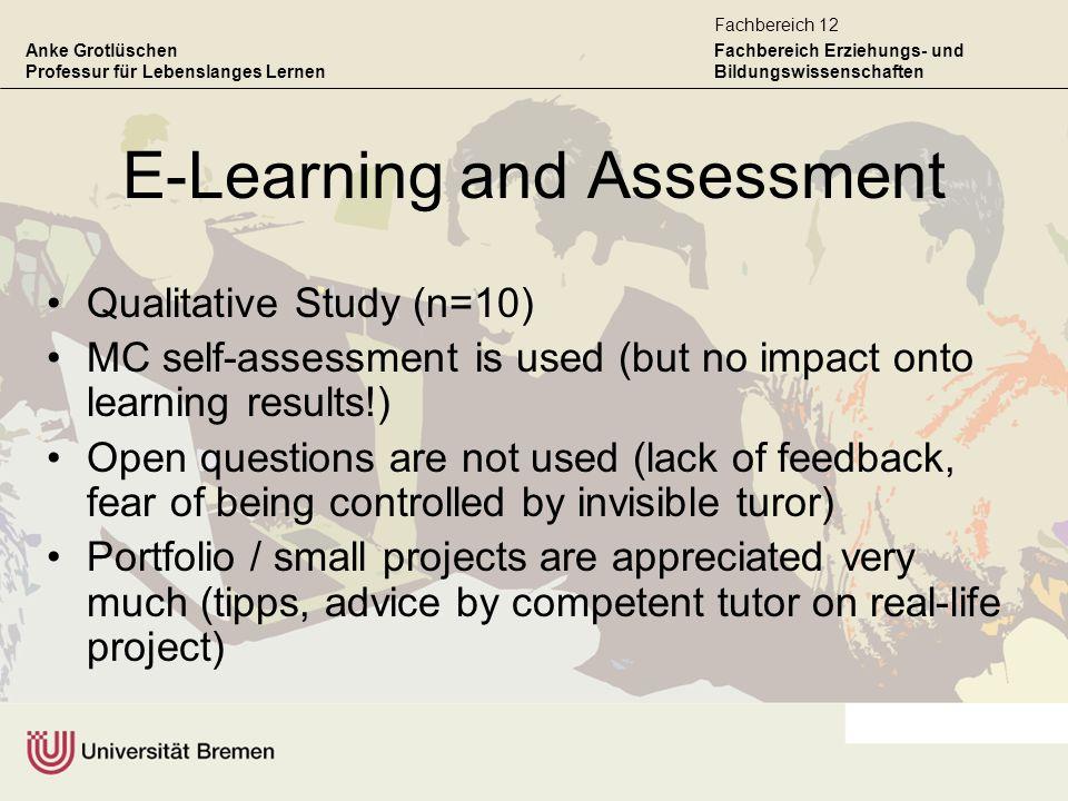 Anke Grotlüschen Professur für Lebenslanges Lernen Fachbereich Erziehungs- und Bildungswissenschaften Fachbereich 12 E-Learning and Assessment Qualita