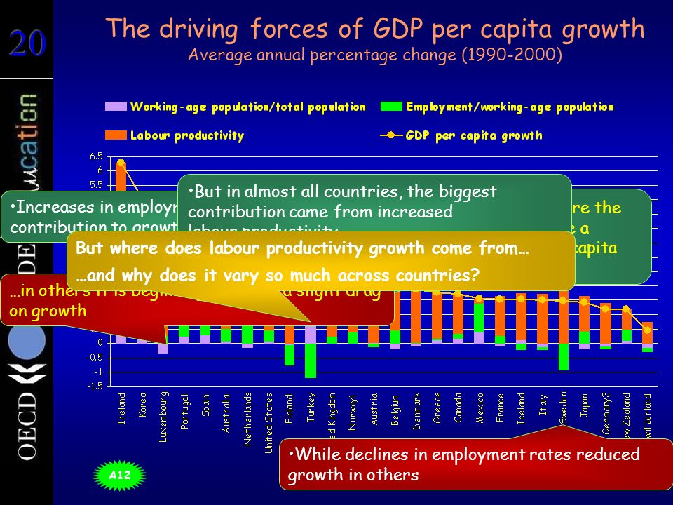 The driving forces of GDP per capita growth Average annual percentage change (1990-2000) Ireland, Korea, Mexico and Turkey were the only countries where demography made a significant positive impact on GDP per capita growth… Increases in employment rates made a big contribution to growth in some countries But in almost all countries, the biggest contribution came from increased labour productivity …in others it is beginning to act as a slight drag on growth While declines in employment rates reduced growth in others But where does labour productivity growth come from… …and why does it vary so much across countries.