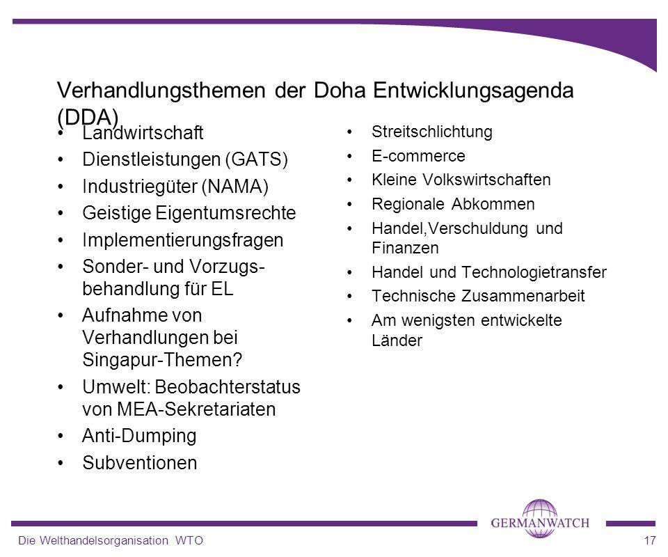 Die Welthandelsorganisation WTO17 Verhandlungsthemen der Doha Entwicklungsagenda (DDA) Landwirtschaft Dienstleistungen (GATS) Industriegüter (NAMA) Ge