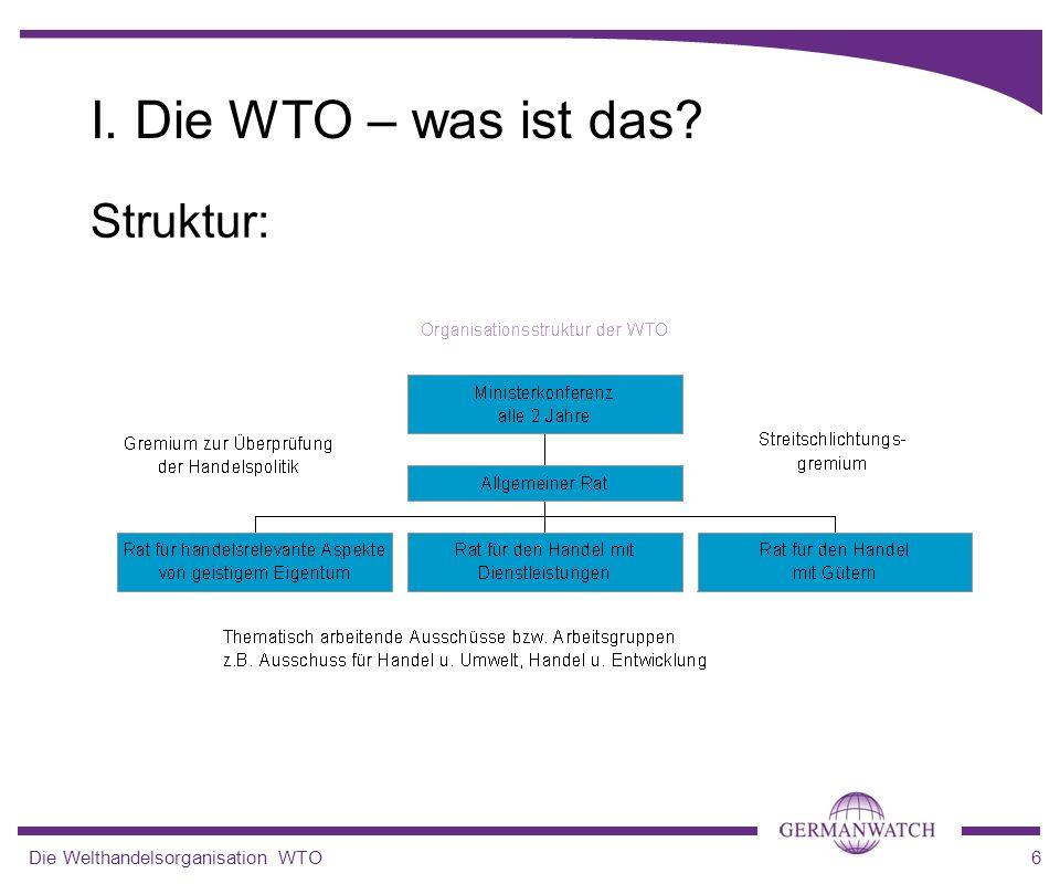 Die Welthandelsorganisation WTO6 I. Die WTO – was ist das? Struktur: