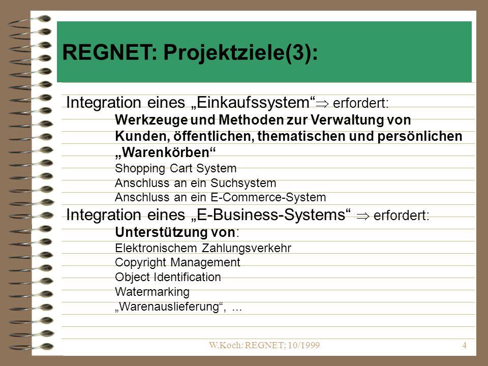 W.Koch: REGNET; 10/19994 Integration eines Einkaufssystem erfordert: Werkzeuge und Methoden zur Verwaltung von Kunden, öffentlichen, thematischen und