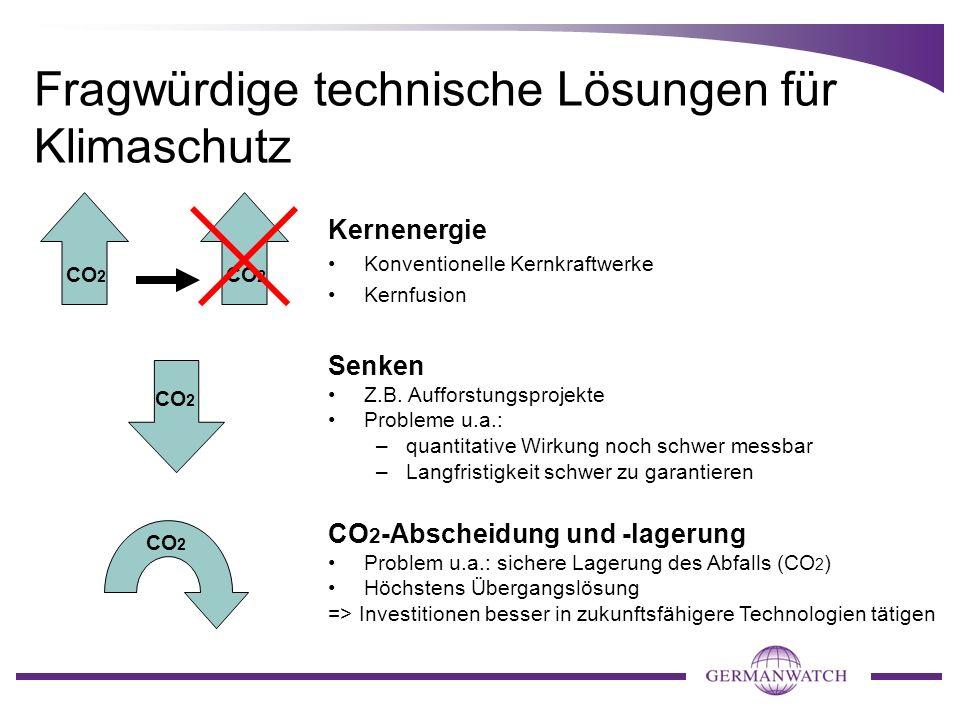Fragwürdige technische Lösungen für Klimaschutz CO 2 CO 2 -Abscheidung und -lagerung Problem u.a.: sichere Lagerung des Abfalls (CO 2 ) Höchstens Über
