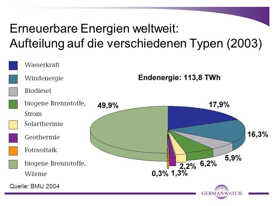 Erneuerbare Energien weltweit: Aufteilung auf die verschiedenen Typen (2003) Quelle: BMU 2004