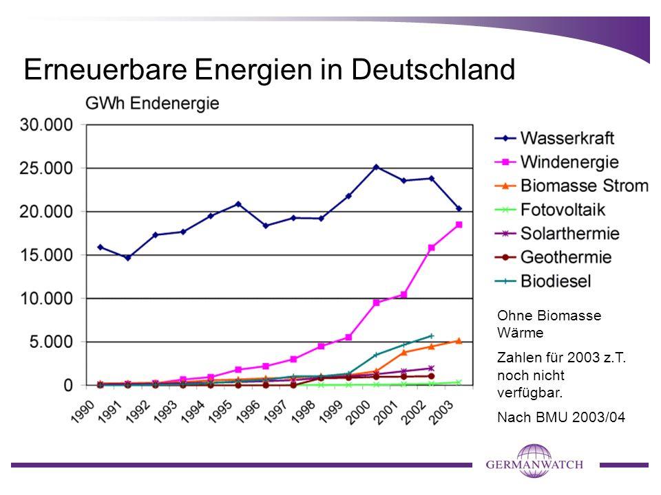 Erneuerbare Energien in Deutschland Ohne Biomasse Wärme Zahlen für 2003 z.T. noch nicht verfügbar. Nach BMU 2003/04