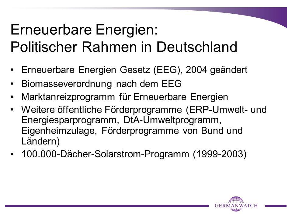 Erneuerbare Energien: Politischer Rahmen in Deutschland Erneuerbare Energien Gesetz (EEG), 2004 geändert Biomasseverordnung nach dem EEG Marktanreizpr