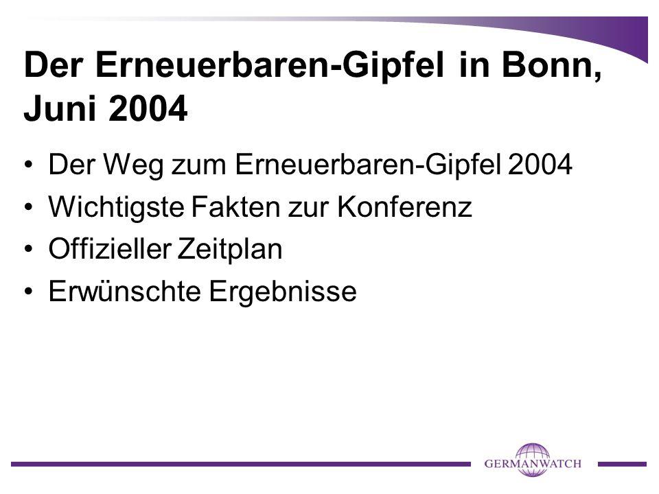 Der Erneuerbaren-Gipfel in Bonn, Juni 2004 Der Weg zum Erneuerbaren-Gipfel 2004 Wichtigste Fakten zur Konferenz Offizieller Zeitplan Erwünschte Ergebn