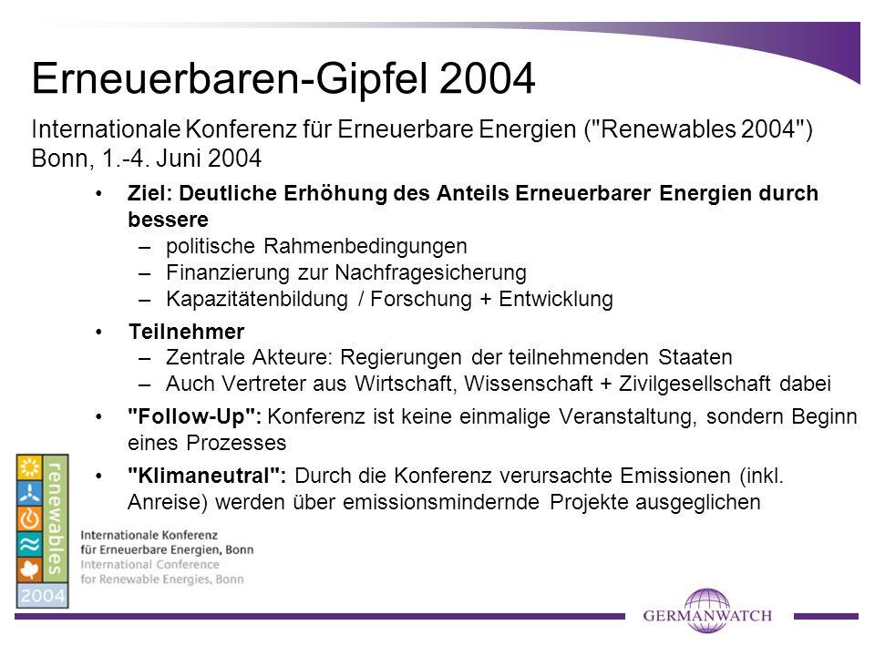 Erneuerbaren-Gipfel 2004 Ziel: Deutliche Erhöhung des Anteils Erneuerbarer Energien durch bessere –politische Rahmenbedingungen –Finanzierung zur Nach