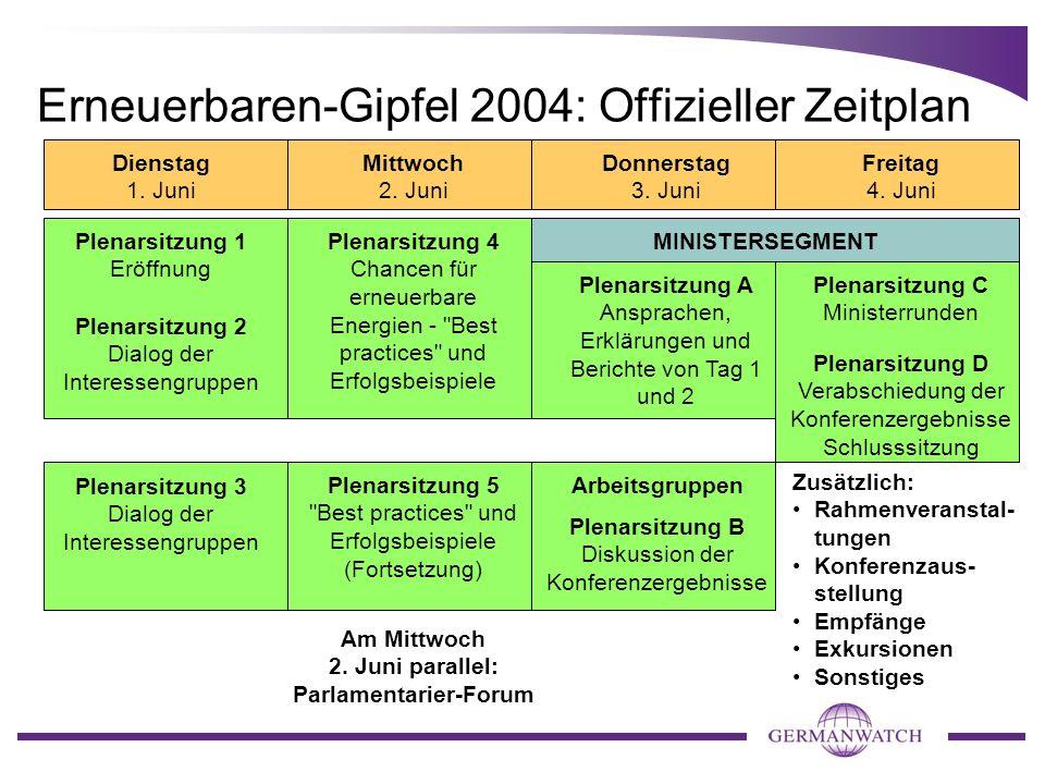 Erneuerbaren-Gipfel 2004: Offizieller Zeitplan Dienstag 1. Juni Mittwoch 2. Juni Donnerstag 3. Juni Freitag 4. Juni Am Mittwoch 2. Juni parallel: Parl