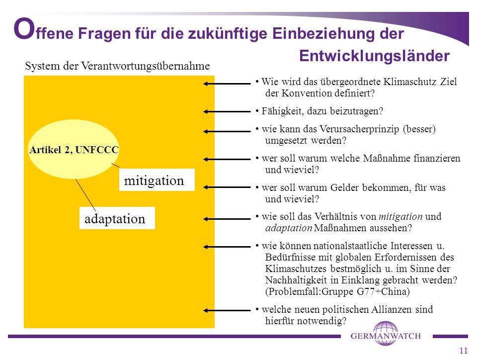 11 adaptation O ffene Fragen für die zukünftige Einbeziehung der Entwicklungsländer mitigation System der Verantwortungsübernahme Wie wird das übergeordnete Klimaschutz Ziel der Konvention definiert.