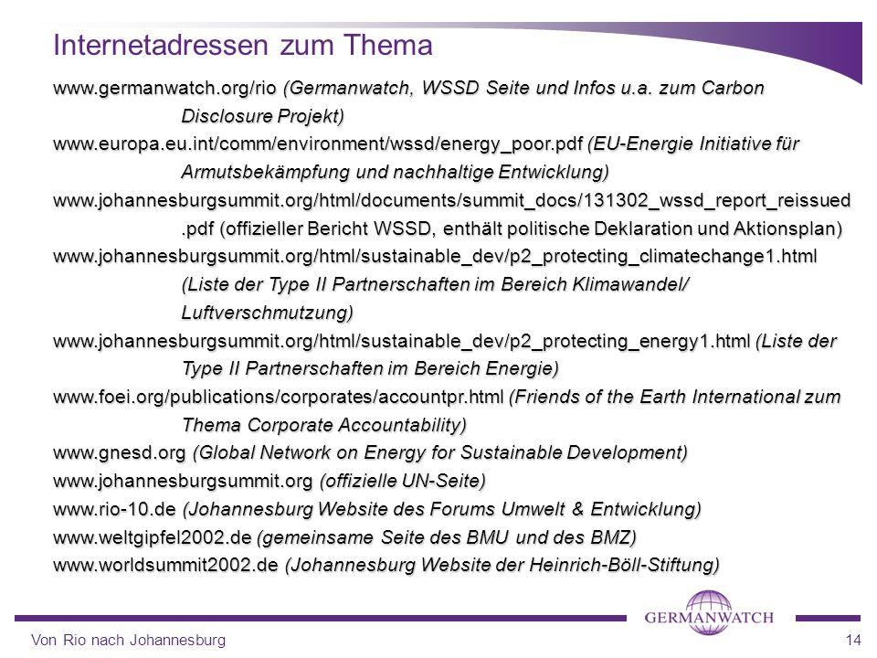 Von Rio nach Johannesburg14 Internetadressen zum Thema www.germanwatch.org/rio (Germanwatch, WSSD Seite und Infos u.a. zum Carbon Disclosure Projekt)