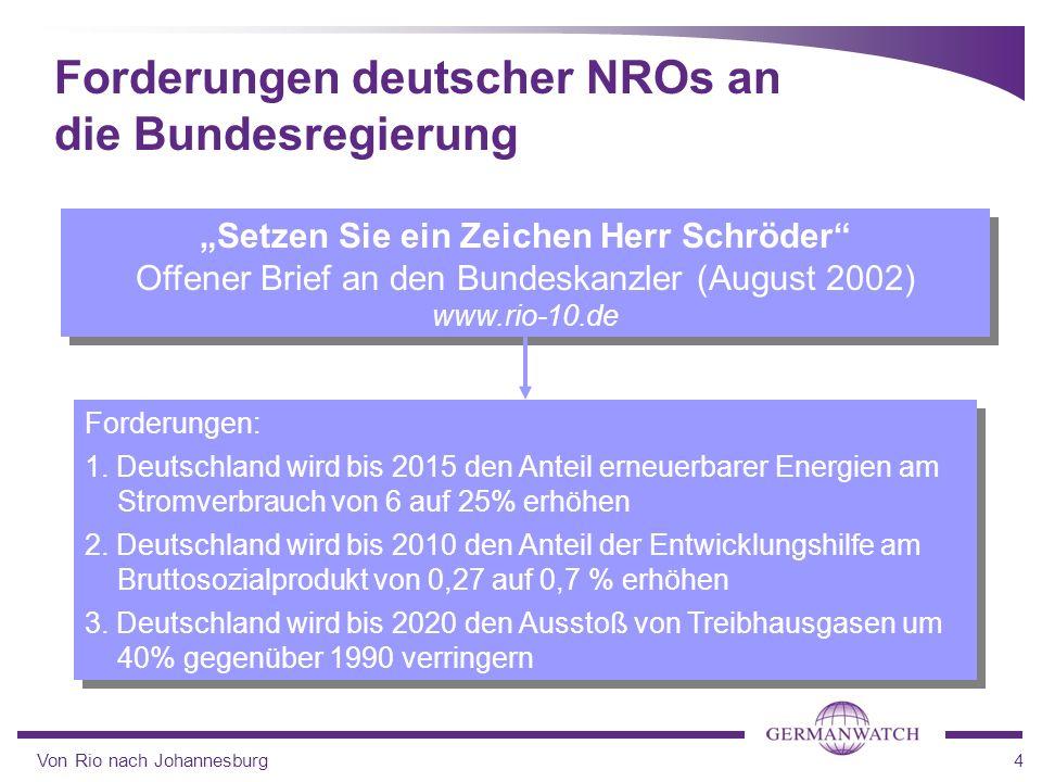 Von Rio nach Johannesburg4 Setzen Sie ein Zeichen Herr Schröder Offener Brief an den Bundeskanzler (August 2002) www.rio-10.de Setzen Sie ein Zeichen