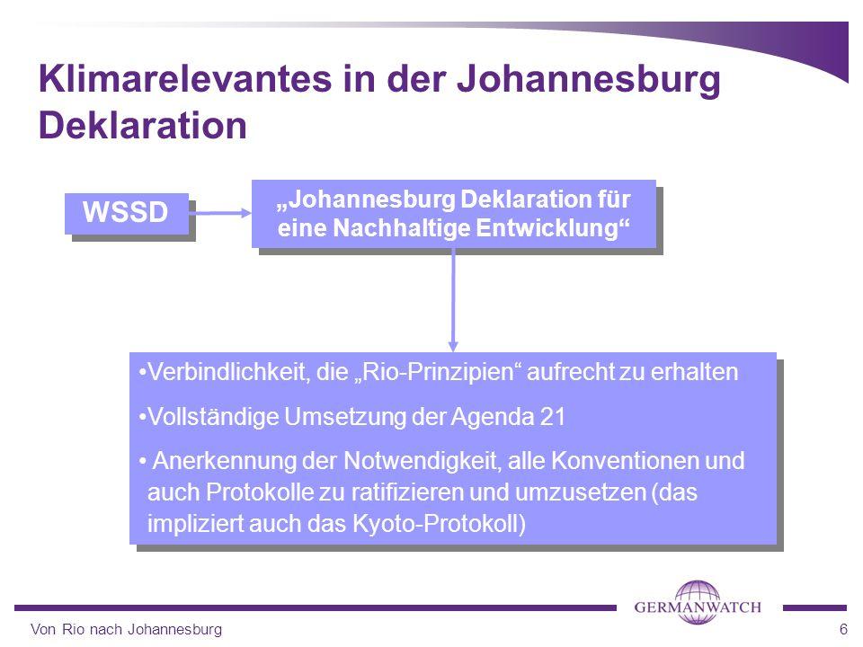 Von Rio nach Johannesburg6 Johannesburg Deklaration für eine Nachhaltige Entwicklung Klimarelevantes in der Johannesburg Deklaration WSSD Verbindlichk