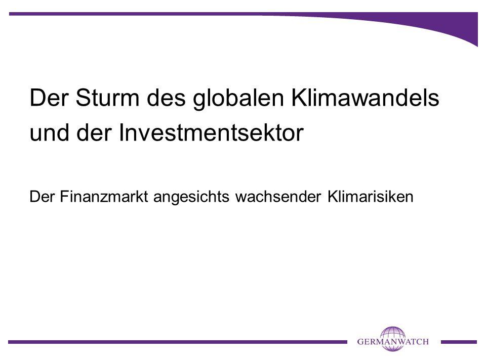 Der Sturm des globalen Klimawandels und der Investmentsektor Der Finanzmarkt angesichts wachsender Klimarisiken