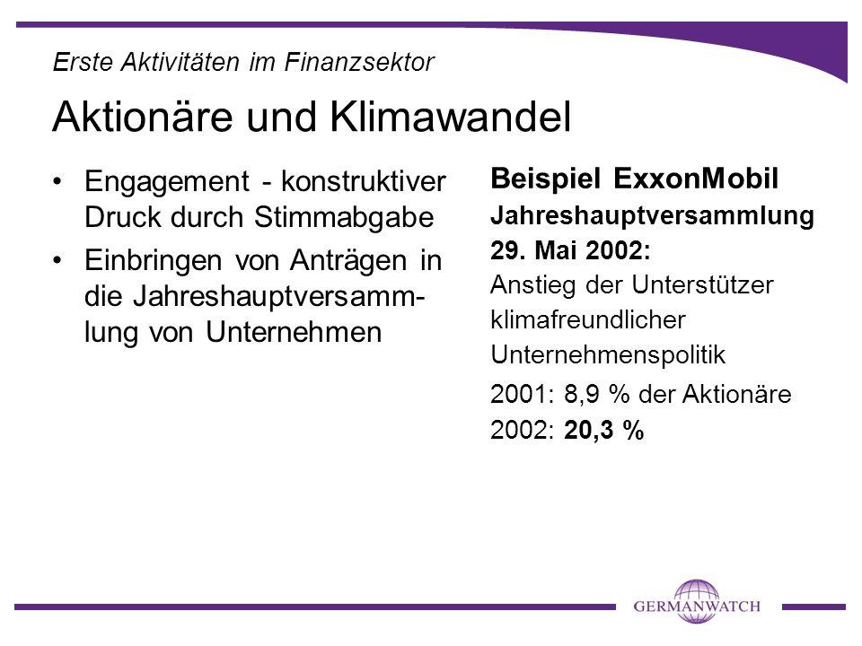 Engagement - konstruktiver Druck durch Stimmabgabe Einbringen von Anträgen in die Jahreshauptversamm- lung von Unternehmen Beispiel ExxonMobil Jahresh