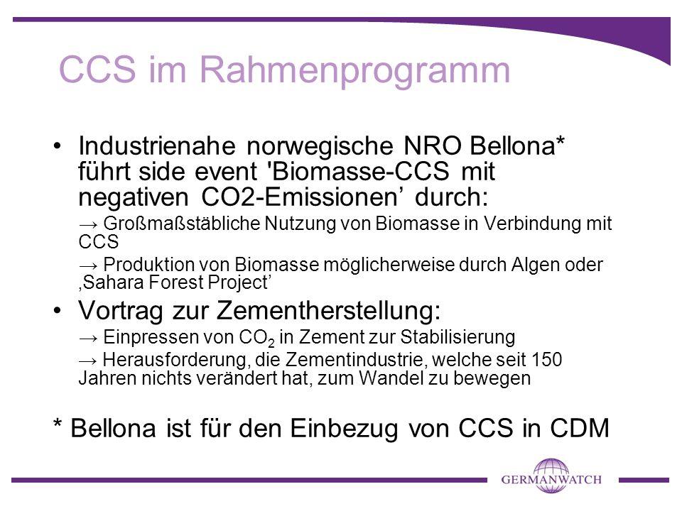 CCS im Rahmenprogramm Industrienahe norwegische NRO Bellona* führt side event 'Biomasse-CCS mit negativen CO2-Emissionen durch: Großmaßstäbliche Nutzu