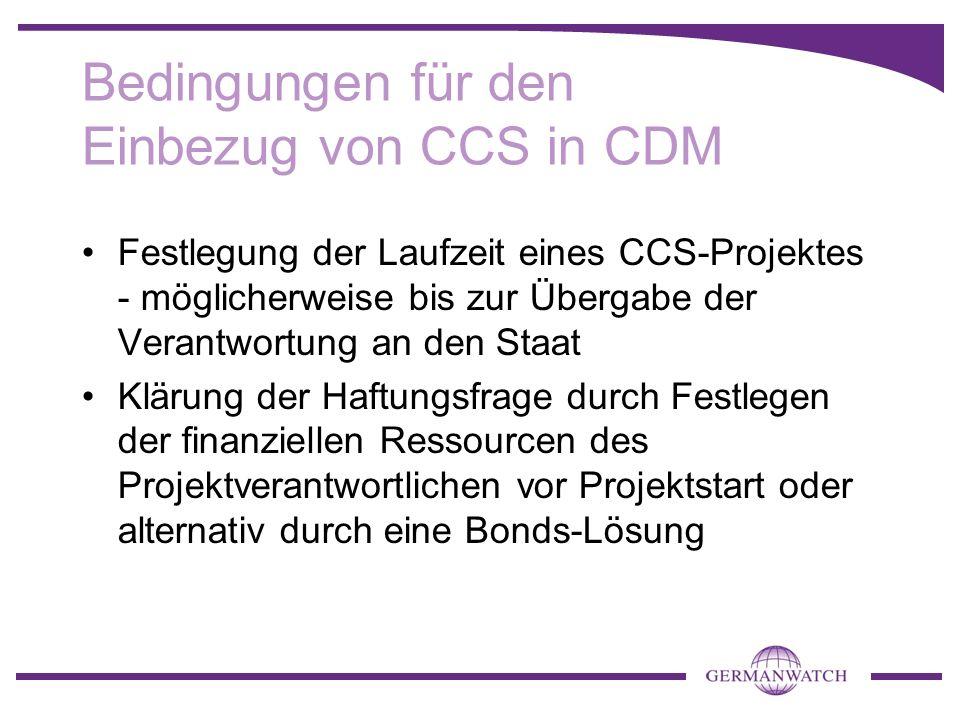 Bedingungen für den Einbezug von CCS in CDM Festlegung der Laufzeit eines CCS-Projektes - möglicherweise bis zur Übergabe der Verantwortung an den Sta