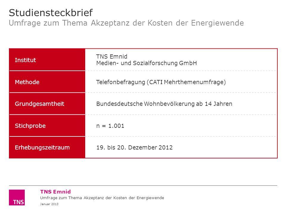 Political | Social TNS Emnid © TNS 2013 Umfrage zum Thema Akzeptanz der Kosten der Energiewende Januar 2013