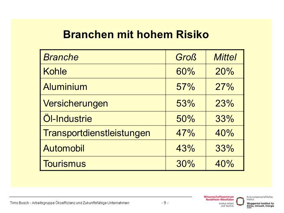 Timo Busch - Arbeitsgruppe Ökoeffizienz und Zukunftsfähige Unternehmen - 9 - Branchen mit hohem Risiko BrancheGroßMittel Kohle60%20% Aluminium57%27% Versicherungen53%23% Öl-Industrie50%33% Transportdienstleistungen47%40% Automobil43%33% Tourismus30%40%