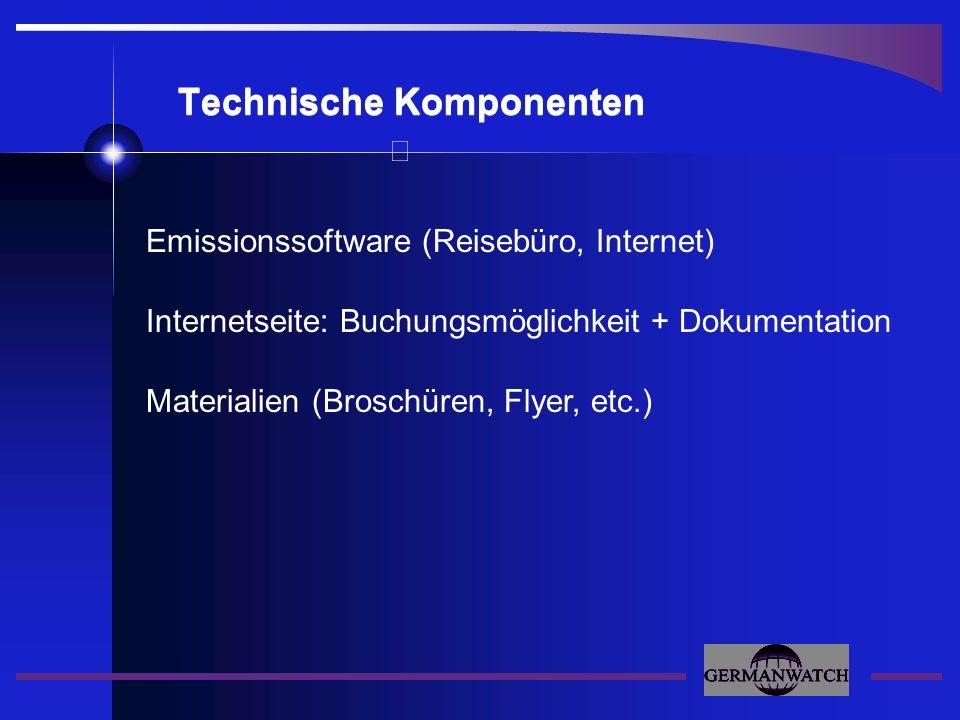 Technische Komponenten Emissionssoftware (Reisebüro, Internet) Internetseite: Buchungsmöglichkeit + Dokumentation Materialien (Broschüren, Flyer, etc.