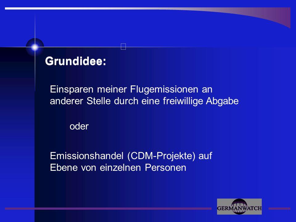 Grundidee: Einsparen meiner Flugemissionen an anderer Stelle durch eine freiwillige Abgabe oder Emissionshandel (CDM-Projekte) auf Ebene von einzelnen