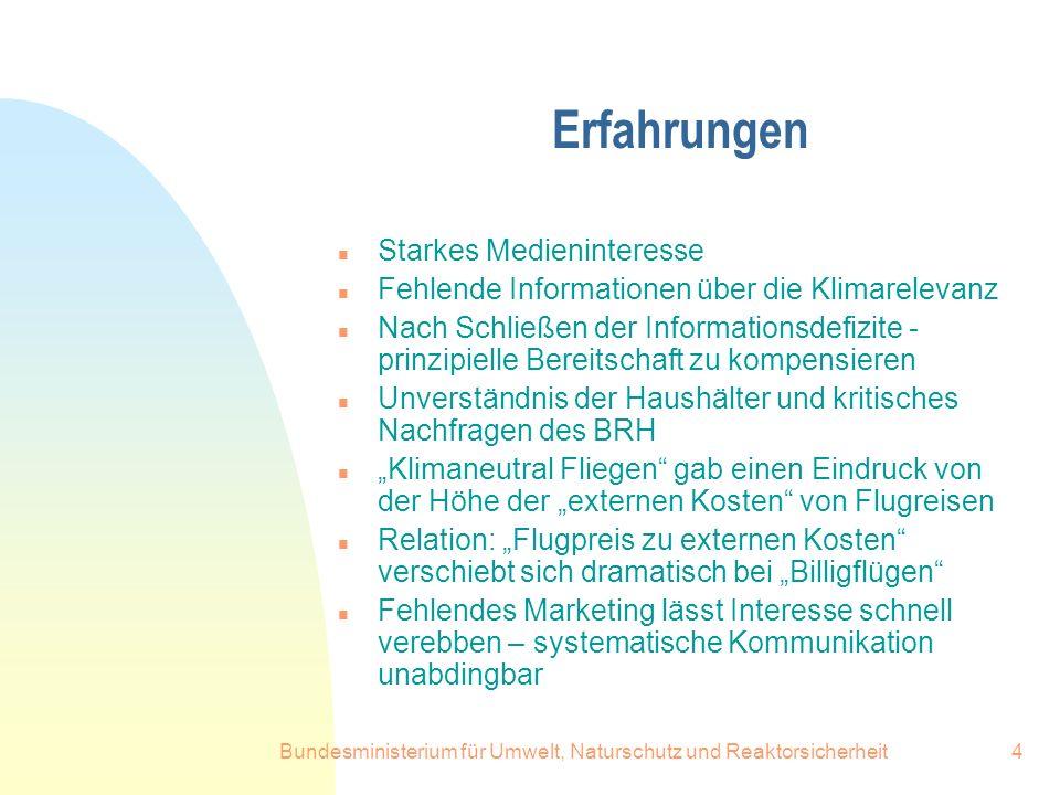 Bundesministerium für Umwelt, Naturschutz und Reaktorsicherheit5 Der Markt beginnt sich zu entwickeln n Emissionsfrei zur E-world 2003 n Umweltministerium Schleswig Holstein n Vorreiter BMU.