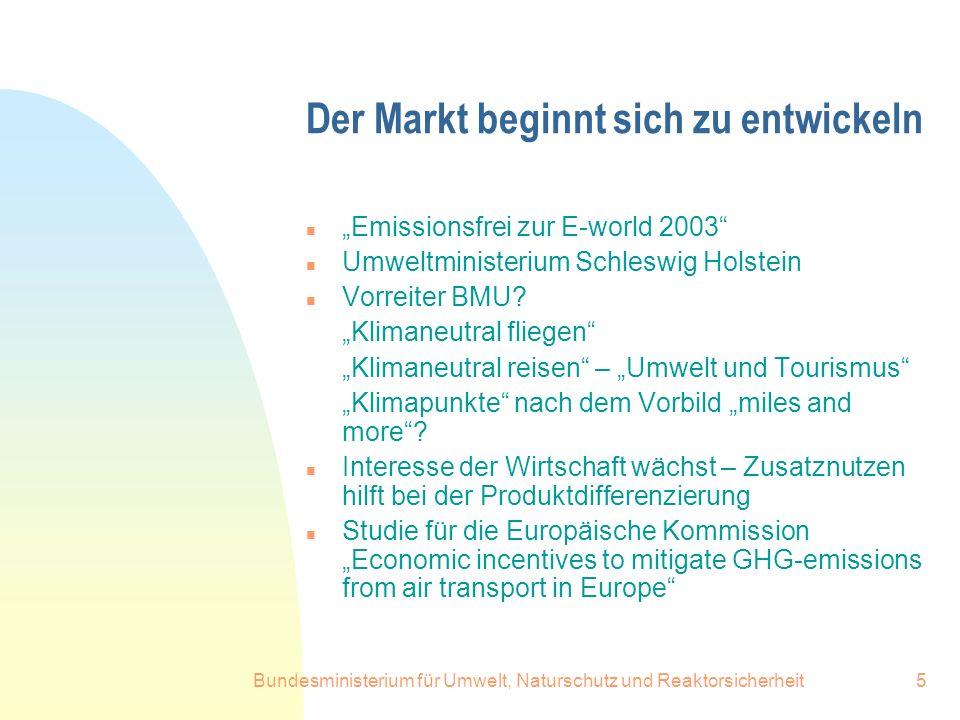Bundesministerium für Umwelt, Naturschutz und Reaktorsicherheit5 Der Markt beginnt sich zu entwickeln n Emissionsfrei zur E-world 2003 n Umweltministe