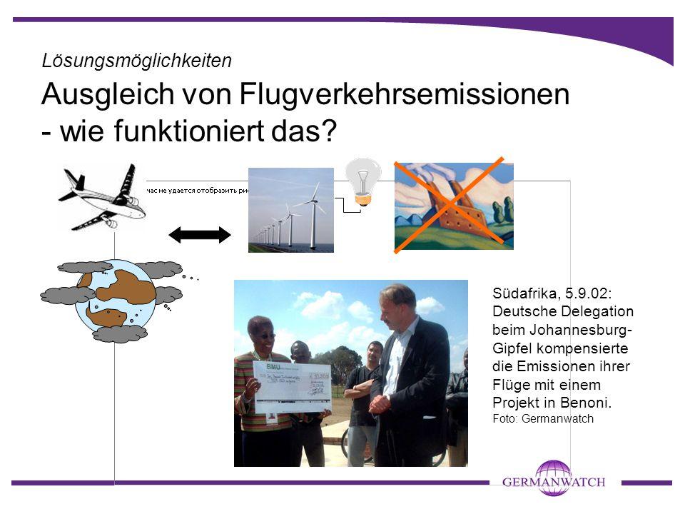 Ausgleich von Flugverkehrsemissionen - wie funktioniert das? Südafrika, 5.9.02: Deutsche Delegation beim Johannesburg- Gipfel kompensierte die Emissio