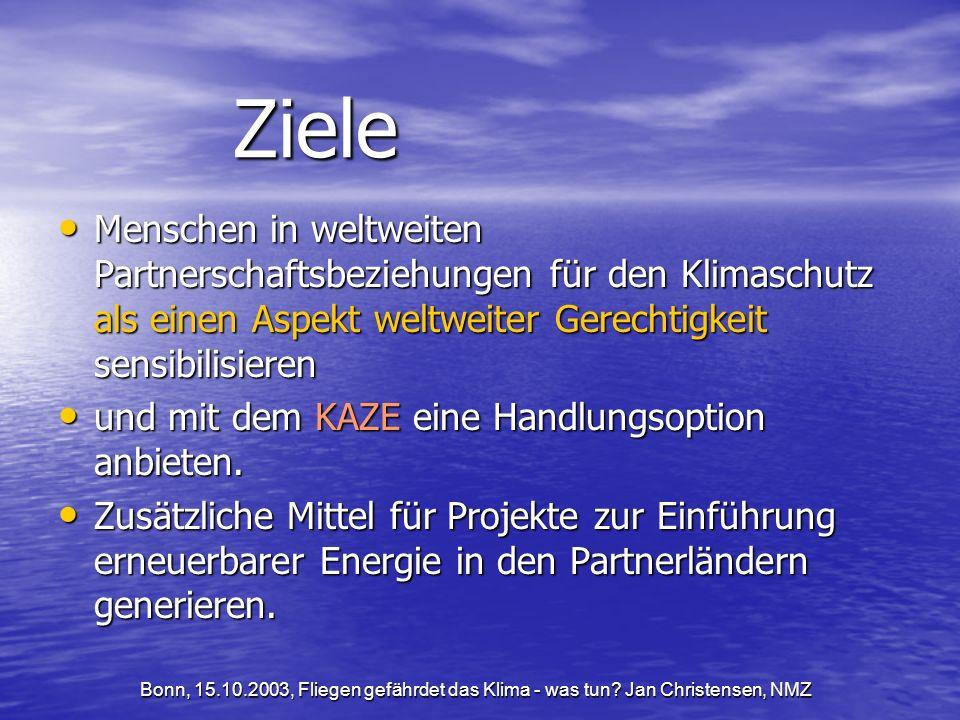 Bonn, 15.10.2003, Fliegen gefährdet das Klima - was tun.