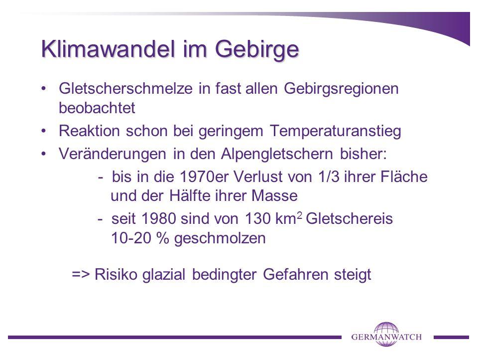 Gebirgsgletscher als Schlüsselindikator für Klimaänderungen Besonderes Risiko: Gletschersee -Ausbrüche globales Fieberthermometer
