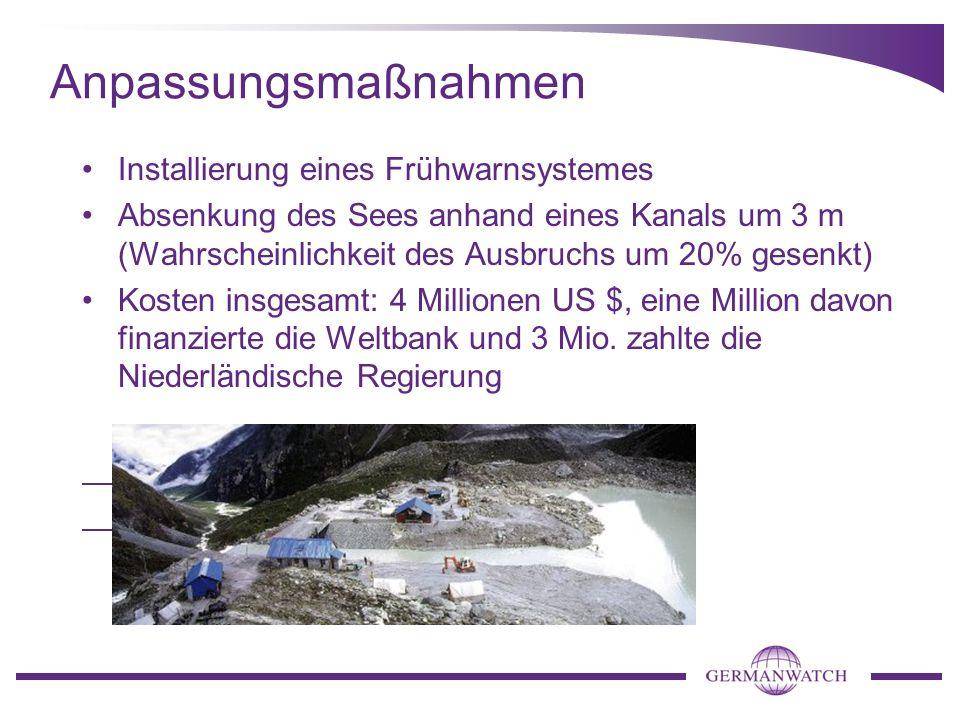 Anpassungsmaßnahmen Installierung eines Frühwarnsystemes Absenkung des Sees anhand eines Kanals um 3 m (Wahrscheinlichkeit des Ausbruchs um 20% gesenkt) Kosten insgesamt: 4 Millionen US $, eine Million davon finanzierte die Weltbank und 3 Mio.