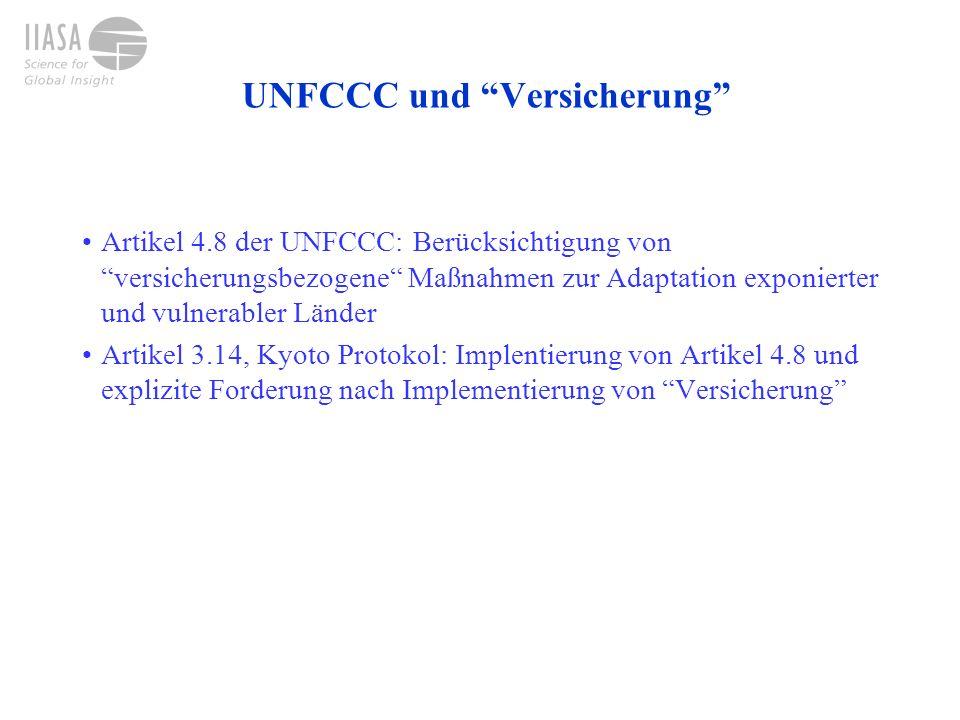 UNFCCC und Versicherung Artikel 4.8 der UNFCCC: Berücksichtigung vonversicherungsbezogene Maßnahmen zur Adaptation exponierter und vulnerabler Länder