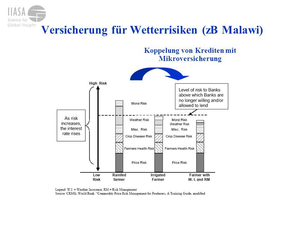 Versicherung für Wetterrisiken (zB Malawi) Koppelung von Krediten mit Mikroversicherung