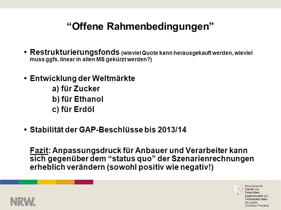 Ministerium für Umwelt und Naturschutz, Landwirtschaft und Verbraucherschutz des Landes Nordrhein-Westfalen Offene Rahmenbedingungen Restrukturierungsfonds (wieviel Quote kann herausgekauft werden, wieviel muss ggfs.