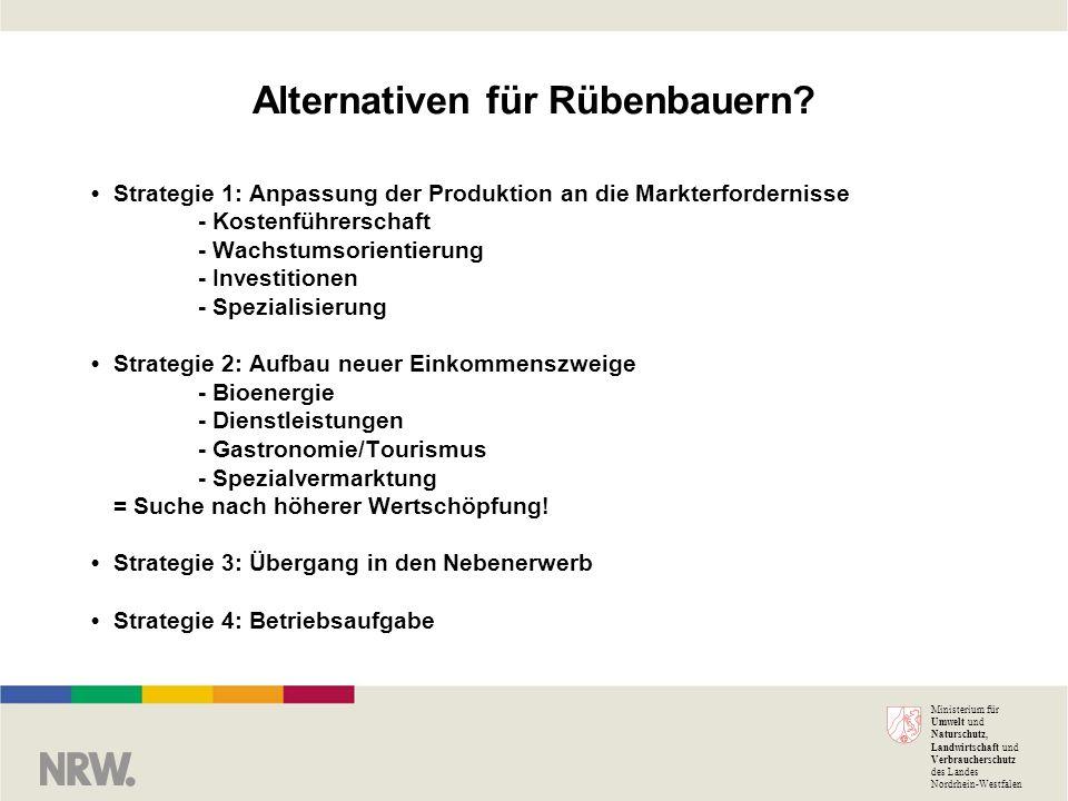 Ministerium für Umwelt und Naturschutz, Landwirtschaft und Verbraucherschutz des Landes Nordrhein-Westfalen Alternativen für Rübenbauern.