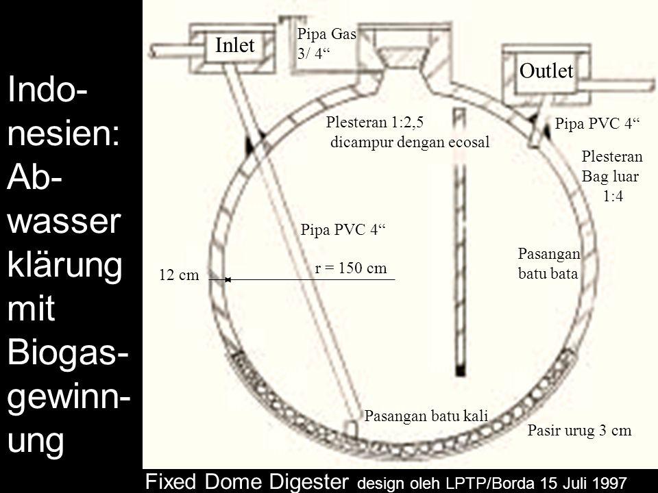 Indo- nesien: Ab- wasser klärung mit Biogas- gewinn- ung Fixed Dome Digester design oleh LPTP/Borda 15 Juli 1997 Inlet Outlet Pipa PVC 4 Pipa Gas 3/ 4