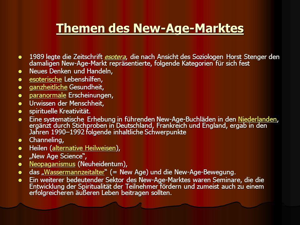 Themen des New-Age-Marktes 1989 legte die Zeitschrift esotera, die nach Ansicht des Soziologen Horst Stenger den damaligen New-Age-Markt repräsentiert