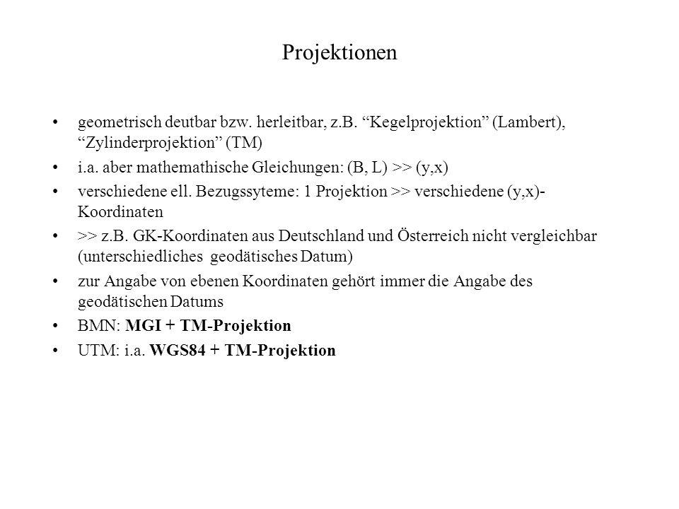 Projektionen geometrisch deutbar bzw. herleitbar, z.B. Kegelprojektion (Lambert), Zylinderprojektion (TM) i.a. aber mathemathische Gleichungen: (B, L)