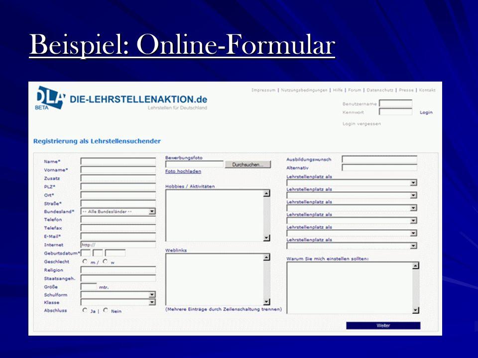 Beispiel: Online-Formular