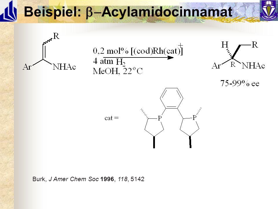 Beispiel: Acylamidocinnamat Burk, J Amer Chem Soc 1996, 118, 5142
