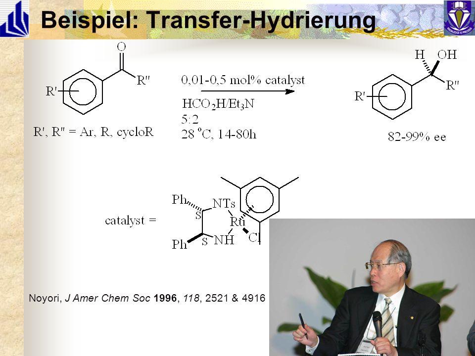 Beispiel: Transfer-Hydrierung Noyori, J Amer Chem Soc 1996, 118, 2521 & 4916