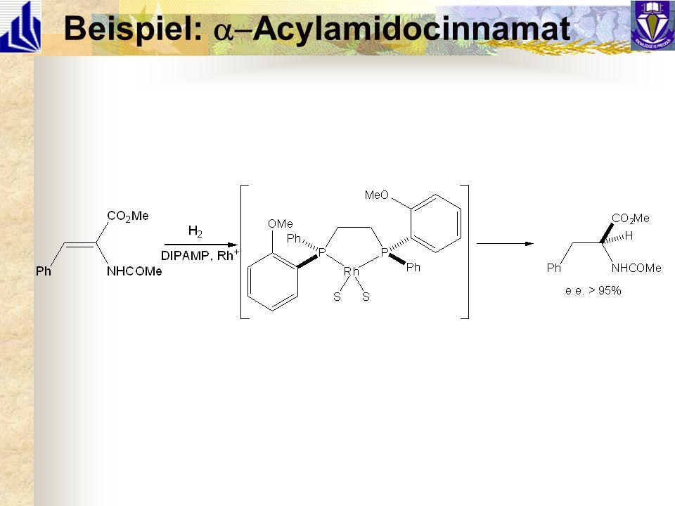 Mechanismus (1) 2 diastereomere Komplexe im Gleichgewicht Oxidative H-Addierung is irreversibel und Reaktionsbestimmend (langsam) Stereoselektivität bestimmt von k maj k min `Minor´ Komplex reagiert schneller als `Major´ Komplex k maj :k min ist 1:573 [Komplex] maj :[Komplex] min ist 11:1 Also (S):(R) ~ 52:1, e.e.