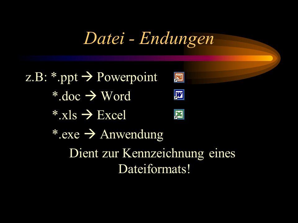 Datei - Endungen z.B: *.ppt Powerpoint *.doc Word *.xls Excel *.exe Anwendung Dient zur Kennzeichnung eines Dateiformats!