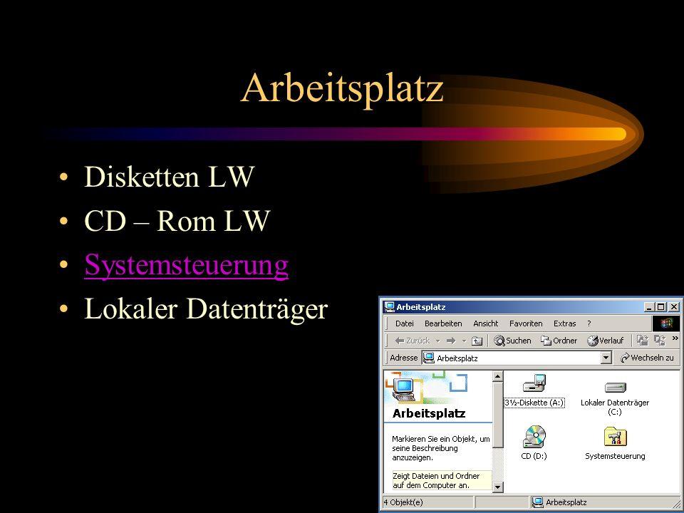 Arbeitsplatz Disketten LW CD – Rom LW Systemsteuerung Lokaler Datenträger
