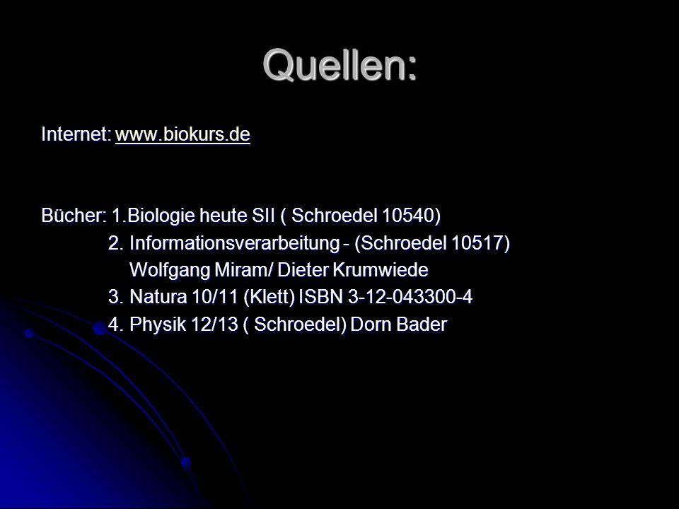 Quellen: Internet: www.biokurs.de www.biokurs.de Bücher: 1.Biologie heute SII ( Schroedel 10540) 2. Informationsverarbeitung - (Schroedel 10517) 2. In