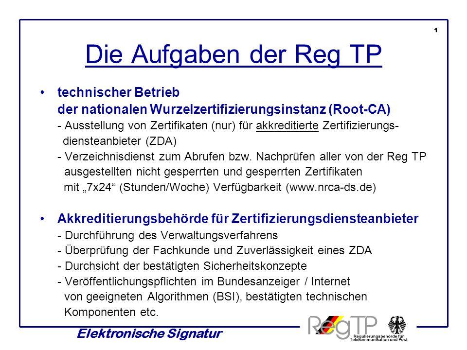 Elektronische Signatur Die Aufgaben der Reg TP technischer Betrieb der nationalen Wurzelzertifizierungsinstanz (Root-CA) - Ausstellung von Zertifikaten (nur) für akkreditierte Zertifizierungs- diensteanbieter (ZDA) - Verzeichnisdienst zum Abrufen bzw.
