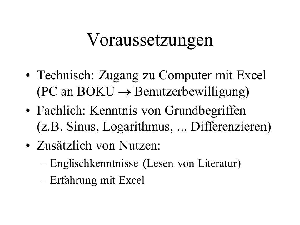 Voraussetzungen Technisch: Zugang zu Computer mit Excel (PC an BOKU Benutzerbewilligung) Fachlich: Kenntnis von Grundbegriffen (z.B.