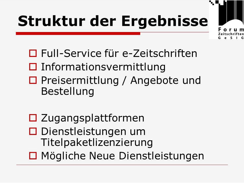 Struktur der Ergebnisse Full-Service für e-Zeitschriften Informationsvermittlung Preisermittlung / Angebote und Bestellung Zugangsplattformen Dienstleistungen um Titelpaketlizenzierung Mögliche Neue Dienstleistungen
