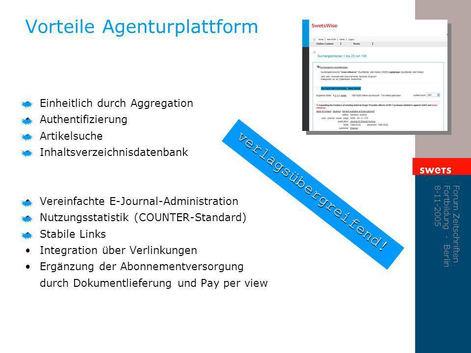 Forum Zeitschriften Fortbildung - Berlin 8-11-2005 Vorteile Agenturplattform Einheitlich durch Aggregation Authentifizierung Artikelsuche Inhaltsverze